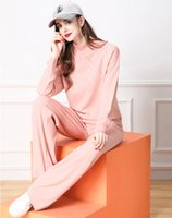 Pink Knitted Two Piece Pants Runway Sets Women Long Sleeve Autumn Winter Sweaters Suits Holiday Cafe Office Party Pullovers + Trousers Luxury Designer Sweet Girl Set
