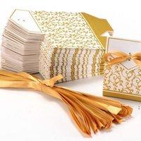 NUOVO 10 PZ Creativo Golden Silver Ribbon Bomboniere Bomboniere Regalo Partito Caramella Cabina di carta Cookie Candy Regalo Bags Event Party Supplies DHD5520