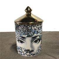 Soporte de vela DIY Velas hechas a mano Jar Retro Lina Face Storage Bin Ceramic CAFT Decoración para el hogar Jewerlly Caja de almacenamiento 2021 Nuevo