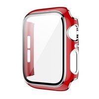 Pour Apple Watch Iwatch Series 6 5 4 3 SE 38/42/40 / 44mm Case Slim Slim Hard PC Trempé Verre Température Protecteur de protecteur