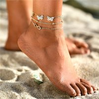 Anklets 17KM Female Fashion Multilayer Butterfly For Women Summer Ankle Bracelets Girls Barefoot On Leg Chain Jewelry Gift