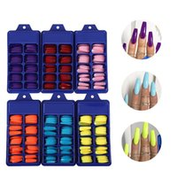 Fake nails artificial press on long ballet solid color full cover coffin t trapezoid 100pcs a box nail tips