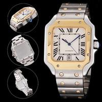 Top Qualität Silber-Gold Männer Watch Classic Square Design Edelstahl Herrenuhren Automatische Bewegung Glide Sweep Move Armbanduhren Uhr