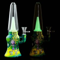 Glow in Dark 9.8' Straight Bong Tobacco Smoking Pipes Silicone Poratble Bubbler with Gift Box