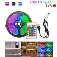 Stroken USB LED Strip Light DC 5V 2835 RGB 1M 2M 3M 4M 5M 24KETE Flexibele Verlichting Ribbon TV Achtergrond Slaapkamer Desk Bookshelf Festival
