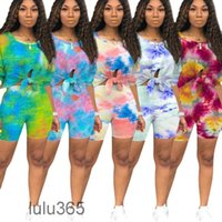 Women tracksuit Outfits 2021 summer new Designer Fashion women's leisure sports tie dye printing round neck Short sleeve shorts two piece sets lulu365