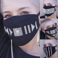 Trendy Bling Rhinestone Face Mask Jewlery for Women Night Club Party Masks Anti-fog Dust-proof Cotton Protective Mask