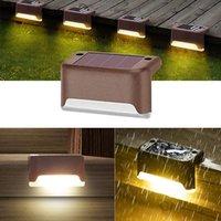 Solar Panel lights Outdoor Fence garden Pathway Wall Light Waterproof Railing stair Step Lamp