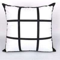 9 Panel Boş Süblimasyon Yastık Kılıfı Siyah Izgara Dokuma Polyester Isı Transferi Yastık Kapak Atmak Kanepe Yastıklar 40 * 40 cm 570 R2