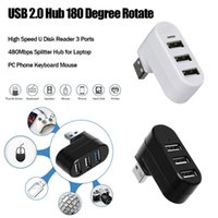 Hubs USB 2.0 Hub 180 Degree Rotate High Speed U Disk Reader 3 Ports 480Mbps Splitter For Laptop PC Phone Keyboard Mouse