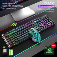 Беспроводная игровая клавиатура и мышь Mousepad Combo с Rainbow LED Backlit Rechargeablle для компьтер-книжки PC Gamer Combos