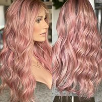 Lace Wigs Loose Body Wave Pink Ombre Grey Blonde Front HD Transparent Human Hair For Black Women Pre Plucked Bleached Knots
