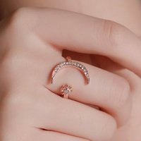 Cross-border crescent rings European and American simple stars moon open-rings