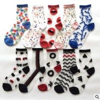 20 PCS = 10 pairs fashion women's socks spring and summer transparent thin polka dots
