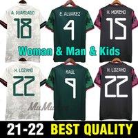 Fan Player Versione Messico Soccer Jerseys Copa America Camisetas 20 21 Chicharito Lozano Dos Guardado 2021 Camicie da calcio Uomo + Kids Kit Kit