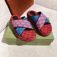 2021 kadın orijinal sandalet platformu terlik klasik mini kumaş tuval kadife slaytlar yaz plaj tasarımcısı sandalet büyük boy 35-42 ile kutusu 298