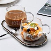 Wine Glasses Letter Printed Transparent Creative Glass Coffee Tea Drinks Dessert Breakfast Milk Cup Mugs Handle Drinkware