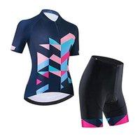 Kadın Bisiklet Forması Set Nefes Yol Bisikleti Gömlek Kiti Kısa Kollu Bisiklet Giyim 20D Jel Yastıklı Önlük Şortlu