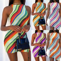 2021wish foreign trade women's wholesale summer new fashion slim fitting round neck striped dress
