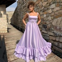 Party Dresses Lavender A Line Beading Straps Prom Dress Sexy Tiered Long Evening Gowns Customized Formal