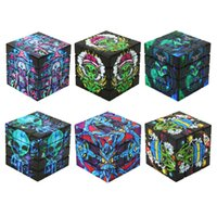 Grinder de cube en plastique à six faces d'impression couleur 60mm grinders d'herbes