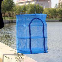 Acessórios de pesca Malha de peixe Secagem de secagem rede desidratadora Durável Dobrável 4 camadas Pratos de vegetais secador de secador