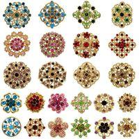 12 / 24pcs Lotto Brooch Pin Bouquet di cristallo Farfalla Eye Heart Crown Star Flower Ala Swan Brooches Brooches per le donne Broach Pin Set