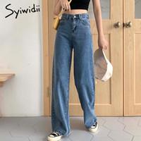 Jean à taille haute Syiwidii pour femmes Vintage Plus Taille Pantalons droits Denim Pantalon Baggy Vêtements 2021 Mode Mom Bas Blue
