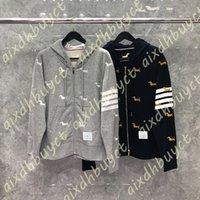 Tb 2021 Fashion Thom Brand Hooded Clothing Puppy Embroidery Jacket Men Sweatshirts Cotton Hoodies Loose Sports Coatfvsz