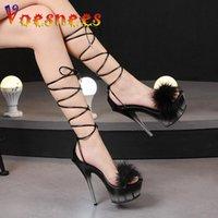 Sandals Summer Fashion Furry Women Sexy 14.5CM Dress Party Fur Thin High Heels Platform Cross-Tied Models Shoes Size 43