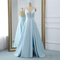 2021 Elegant Deep V-neck A-line Long Sky Blue Evening Dress Satin Prom Gowns