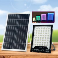Solar RGB Lamps Flood Lights 60W-400W LED Color Changing Outdoor Security Floodlight Wall Light Waterproof IP65 Spotlight with Remote Control usalight fedex