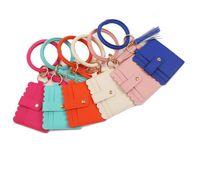 Bangle Armband Kartenbeutel Brieftasche Keychain Wristlet Schlüsselanhänger Leopard Handtasche Leder Armband Keychain Kreditkarteninhaber mit Quaste 39 Stil