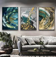 Paintings Abstract Canvas Painting Golden Fish Feather Poster Wall Blue Green Art Picture For Living Room Tableaux Decor
