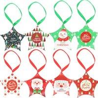 US ussive Creative Santa Claus Candy Box Рождественские украшения Конфетная коробка Цветная печать Xmas Box с ручкой веревка звезда конфеты подарки коробки