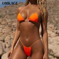Омкаги Бразильский 2021 Micro Bikini Set Sexy Push Up Плавание Купальник Neon Женские Купальные Костюмы Сплошные Купальники Женщины