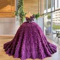 Purple Princess Ball Gown Quinceanera Dress Tiered Skirts Sweetheart Neck Ruffles Party Sweet 16 Gowns Vestidos De 15 Años