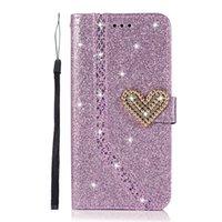 Coeur scintille portefeuille de portefeuille pour iPhone 13 Pro Max Mini 12 11 XR XS x 8 7 6 Galaxy S21 Ultra Plus Fe Love Bling Bling Diamant Glitter Sparkly Filles de luxe Lady Flip Couverture