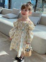 Frühling Sommer Mädchen Blumen Gedruckt Kleider Kinder Rüschen Tau Schulter Langarm Kleid Kinder Baumwolle Blume Kleid A6021