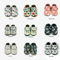 First Walkers Soft Leather Shoes Printing Design Animal Baby Crowling Slipper Genuine Moccasins