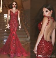 NOUVEAU Arabe Bourgogne Mermaid Pal Robes De Charmant Rouge Rouge Rouge De Charme Sheer Col Couche Dentelle Applique Illusion Formelle Robes de soirée arrière