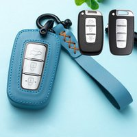 Кожаный автомобильный ключ крышка чехол интеллектуальный ключ держатель для Hyundai Equus Genesis Veloster для Kia Sportage Forte Optima Soul Azera