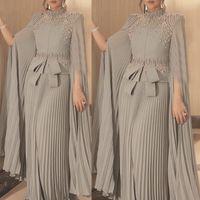 Muslim Arabic Dubai Kaftan Chiffon Pleats Formal Evening Dresses Pearls Beaded High Neck Elegant A Line Prom Party Gowns Bow Moroccan Caftan Floor Length