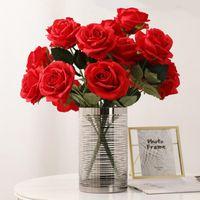 Fleurs décoratives Couronnes Simulation artificielle Rose Outils de fleurs Rose Accueil Ornements de salon Bureau solide