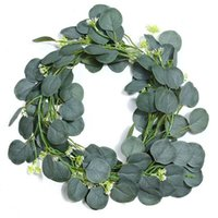 Decorative Flowers & Wreaths Artificial Green Eucalyptus Leaves Wreath Seed Ivory Vine Grape Plant For Wedding Arch Table Runner Farmhouse
