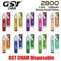 정통 GST CHAM 일회용 포드 디바이스 키트 2800 퍼프 1250mAh 배터리 7.5ml Prefilled Vape Bar 스틱 Ecig Pen 100 % 정품