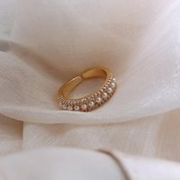 Cluster Rings Fashion Personality Net Red Ring Simple Cold Wind Light Luxury Pearl Open Female Ins Tide