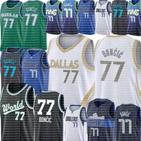 2021 Luka 77 Neue Doncic Jersey Männer Doncic Basketball Trikots Weiß Blau Grün Schwarz Trikots S-XXL Billig Großhandel