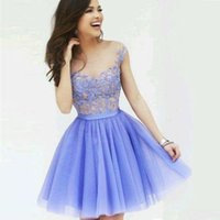 New Elegant Cocktail Dresses Evening Party Gowns Tulle Short A-line Modern Scoop Style Homecoming Dress