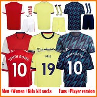 21 22 Pepe Saka Soccer Jerseys Fan Player Version Gunners Arsen Ødegbar Thomas Wilian Nicolas Tierney Smith Rowe Jersey Männer + Kinder Kits 2021 2022 Fußballhemden